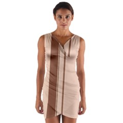 Elegant brown lines Wrap Front Bodycon Dress