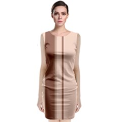 Elegant brown lines Classic Sleeveless Midi Dress