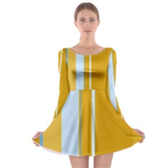 Yellow elegant lines Long Sleeve Skater Dress