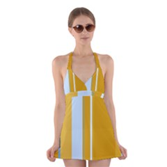 Yellow elegant lines Halter Swimsuit Dress