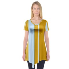Yellow Elegant Lines Short Sleeve Tunic