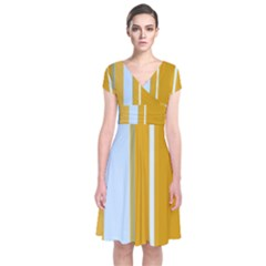 Yellow elegant lines Short Sleeve Front Wrap Dress