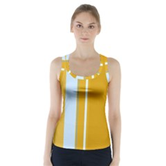 Yellow elegant lines Racer Back Sports Top