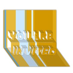 Yellow elegant lines YOU ARE INVITED 3D Greeting Card (7x5)