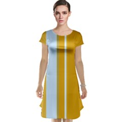 Yellow elegant lines Cap Sleeve Nightdress