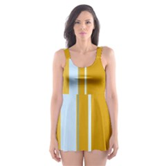 Yellow elegant lines Skater Dress Swimsuit