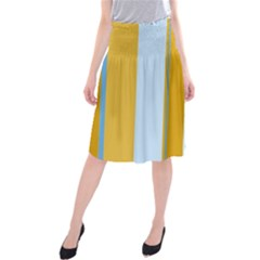 Yellow elegant lines Midi Beach Skirt