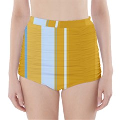 Yellow elegant lines High-Waisted Bikini Bottoms