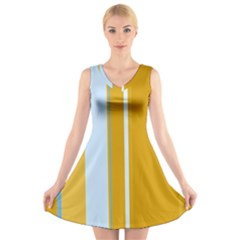 Yellow Elegant Lines V Neck Sleeveless Skater Dress