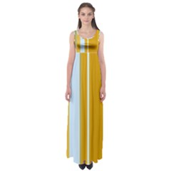 Yellow elegant lines Empire Waist Maxi Dress