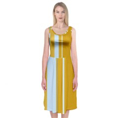 Yellow elegant lines Midi Sleeveless Dress