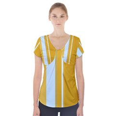 Yellow Elegant Lines Short Sleeve Front Detail Top