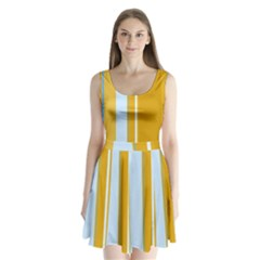 Yellow elegant lines Split Back Mini Dress