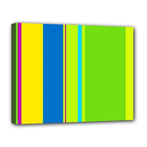 Colorful lines Canvas 14  x 11