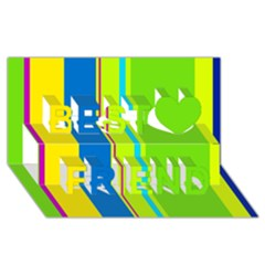 Colorful lines Best Friends 3D Greeting Card (8x4)