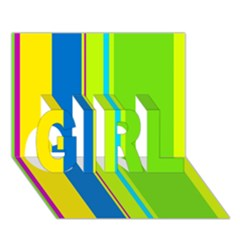 Colorful lines GIRL 3D Greeting Card (7x5)