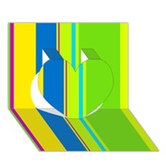 Colorful lines Heart 3D Greeting Card (7x5)