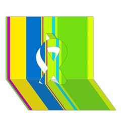 Colorful lines Ribbon 3D Greeting Card (7x5)