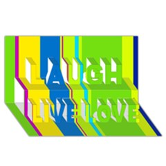 Colorful lines Laugh Live Love 3D Greeting Card (8x4)
