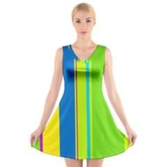 Colorful Lines V Neck Sleeveless Skater Dress