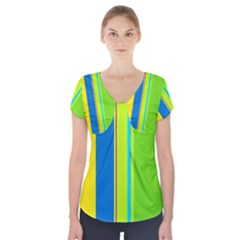 Colorful lines Short Sleeve Front Detail Top