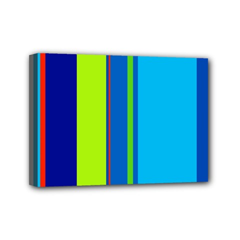 Blue and green lines Mini Canvas 7  x 5