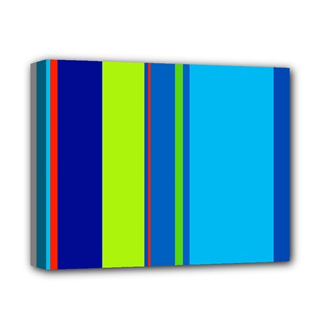 Blue and green lines Deluxe Canvas 14  x 11