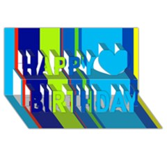 Blue and green lines Happy Birthday 3D Greeting Card (8x4)