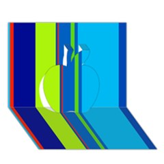 Blue and green lines Apple 3D Greeting Card (7x5)