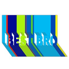 Blue and green lines BEST BRO 3D Greeting Card (8x4)