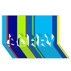 Blue and green lines SORRY 3D Greeting Card (8x4)