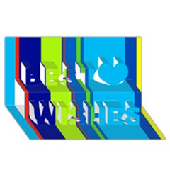 Blue and green lines Best Wish 3D Greeting Card (8x4)
