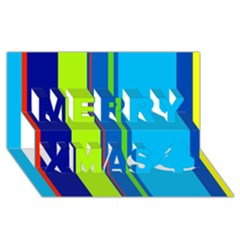 Blue and green lines Merry Xmas 3D Greeting Card (8x4)