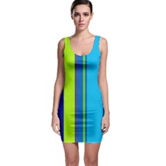 Blue and green lines Sleeveless Bodycon Dress