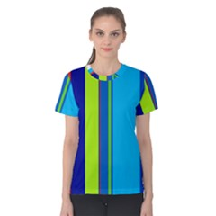 Blue and green lines Women s Cotton Tee