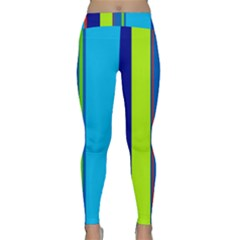 Blue and green lines Yoga Leggings