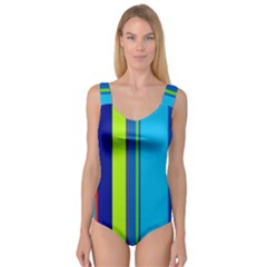 Blue and green lines Princess Tank Leotard