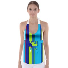 Blue and green lines Babydoll Tankini Top