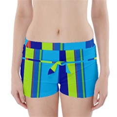 Blue And Green Lines Boyleg Bikini Wrap Bottoms