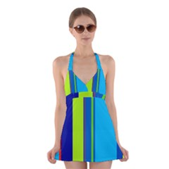 Blue and green lines Halter Swimsuit Dress