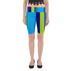 Blue And Green Lines Yoga Cropped Leggings