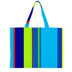 Blue and green lines Large Tote Bag