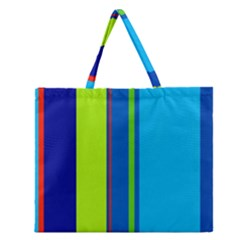 Blue And Green Lines Zipper Large Tote Bag
