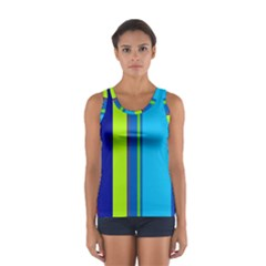 Blue and green lines Women s Sport Tank Top