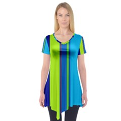 Blue and green lines Short Sleeve Tunic
