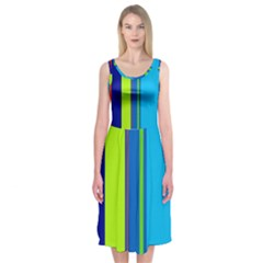Blue and green lines Midi Sleeveless Dress