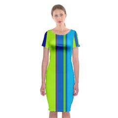 Blue and green lines Classic Short Sleeve Midi Dress