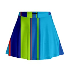 Blue and green lines Mini Flare Skirt