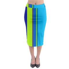 Blue and green lines Midi Pencil Skirt