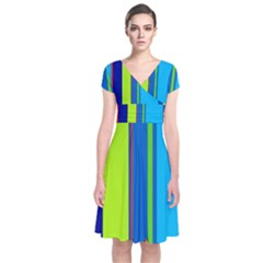 Blue and green lines Short Sleeve Front Wrap Dress